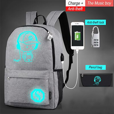 New Luminous Backpack with Light Up LED Strip for Kids Children and Youth