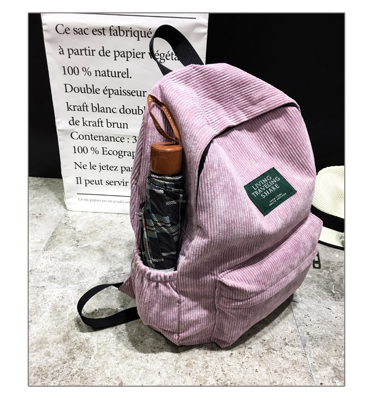 Women Striped Corduroy Backpack Female Eco Simple Cloth Bag Large Capacity Vintage Travel Bags School Backpack for Teenage Girls