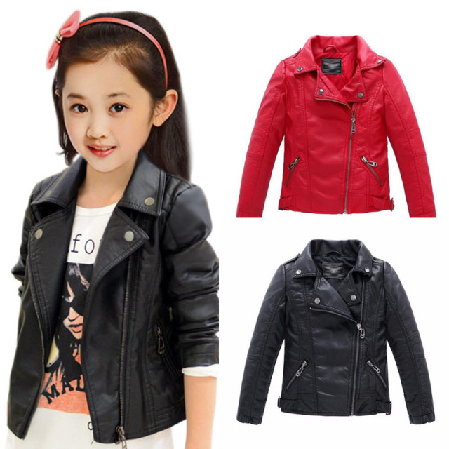 0667271e6eff Baby girls clothes Faux Leather outerwear kids coats Children s ...
