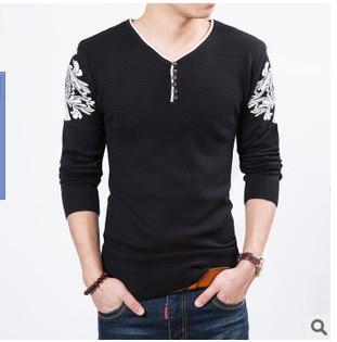 Наборы новых мужских трикотажных хлопковых свитеров с круглым вырезом колледжа ветра Мужской свитер - Цвет: Черный