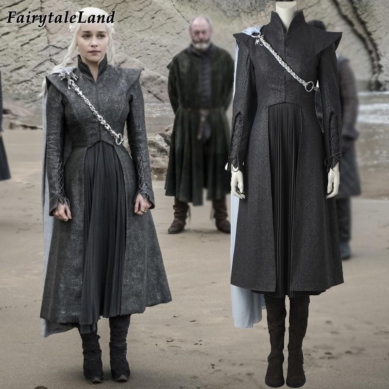 Game of Thrones Season 7 Daenerys Targaryen cosplay costume with cloak boots Fancy cosplay Dragon Daenerys