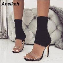 e55f576290 Aneikeh 2018 Novo Tecido Stretch Mulheres Ankle Boots Saltos Stiletto  Gladiador Transparente PVC Slip-On