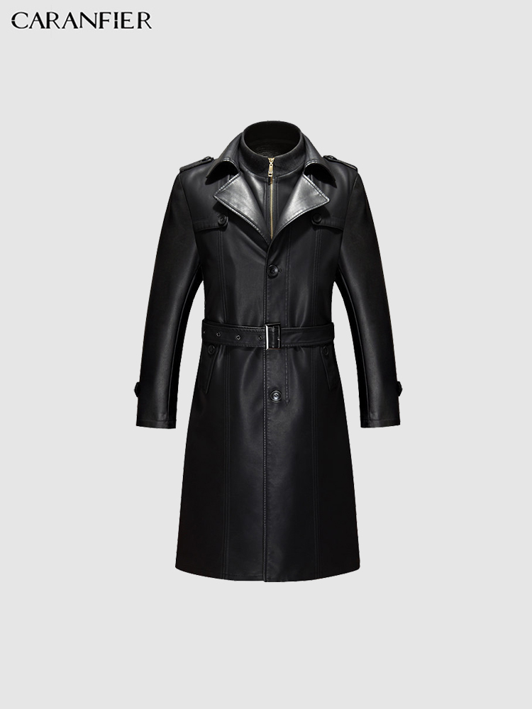 CARANFIER Mens Jackets Genuine Leather Sheepskin Coats Top Quality Mid-Long Trench Winter Warm Plus Velvet Business Outerwear