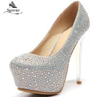 SGESVIER Women Stiletto High Heels Pumps Slip On Sexy Shoes Water Proof High Quality Wedding Pumps