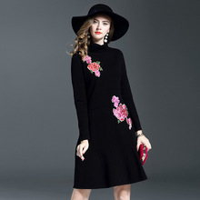 Luxury Turtleneck Sweater Pullover Female Knitted Embroidery Dress Women Solid Color Long Sleeve Winter Dress Womens Clothing