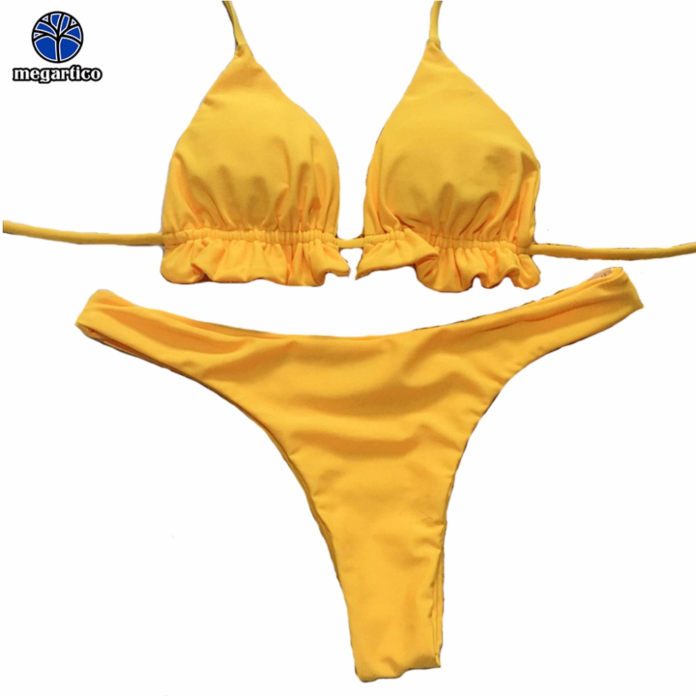 Megartico swimwear women yellow <font><b>sexy</b></font> swim set women biquini feminino <font><b>cintura</b></font> <font><b>alta</b></font> red female backless thong <font><b>bikini</b></font> 2018 image