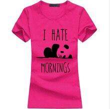 kawaii Panda Print T shirt Women I HATE MORNINGS Cotton Casual Funny t-Shirt For Lady Gray summer harajuku punk Hipster Tops Tee