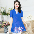New Women Casual Basic Summer Ink printing Lace Chiffon Blouse Top Shirt floral loose blusas short sleeves patchwork Plus Size