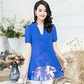Nuevas Mujeres Casual Básico de impresión de Tinta Del Verano Gasa Del Cordón de la Camiseta Top de La Blusa floral loose blusas de manga corta del remiendo Más El Tamaño