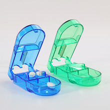 Folding pill case Metal pill cutter Medicine Organizer Portable Pill Box Storage Container Holder Tablet Cutter Splitter