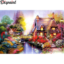 Dispaint Full Square/Round Drill 5D DIY Diamond Painting House flower Embroidery Cross Stitch 3D Home Decor A10829