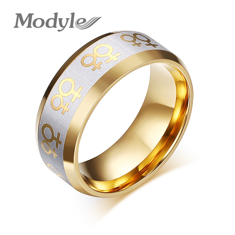 modyle gold color rings for women lesbian wedding ring stainless steel female gay pride jewelry - Lesbian Wedding Rings