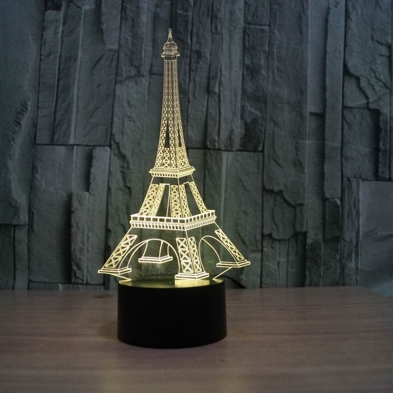 Bedrooms Lamp Light Bulb Bb 3D Lamp Paris Eifel Tower Optical Illusion Led Night Light 7 Colors Touch Switch