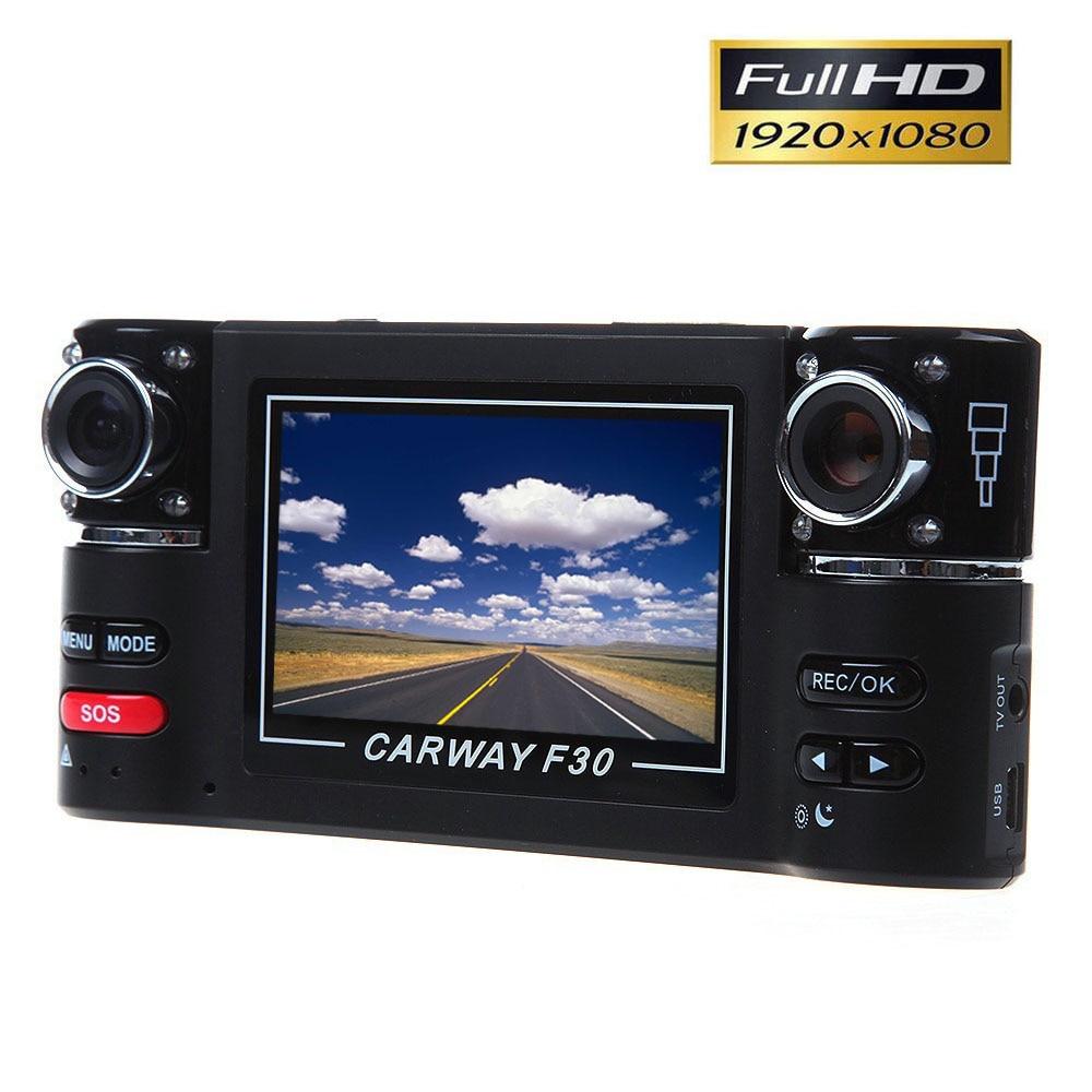 d3b69d33ff84d Carway F30 2.7 TFT LCD Carro DVR Full HD 1080 P Dual lens traço Camera 180  graus Girados lens Night Vision Camcorder