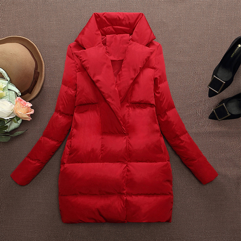 Women   Down   Parka 2018 Autumn Winter Jacket Women   Down     Coats   Female Outerwear Long Lady Clothing White Duck   Down   Red Woman