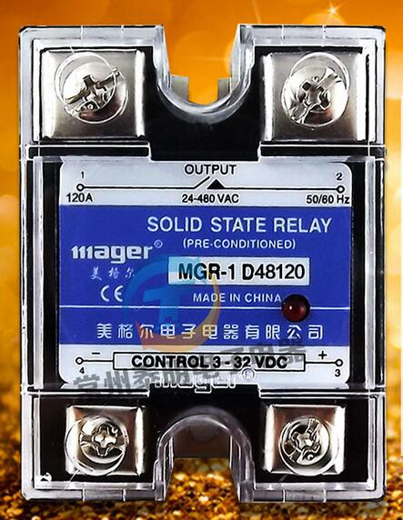 mager Genuine new original Single-phase SSR single-phase solid-state relay DC control DC AC220V MGR-1 D48120 120A new cad32mdc dc220v tesys d series contactor control relay 3no 2nc