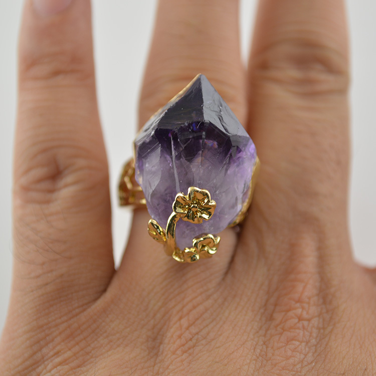 2pcs High Quality Purple Druzy Crystal Finger Rings Raw Purple