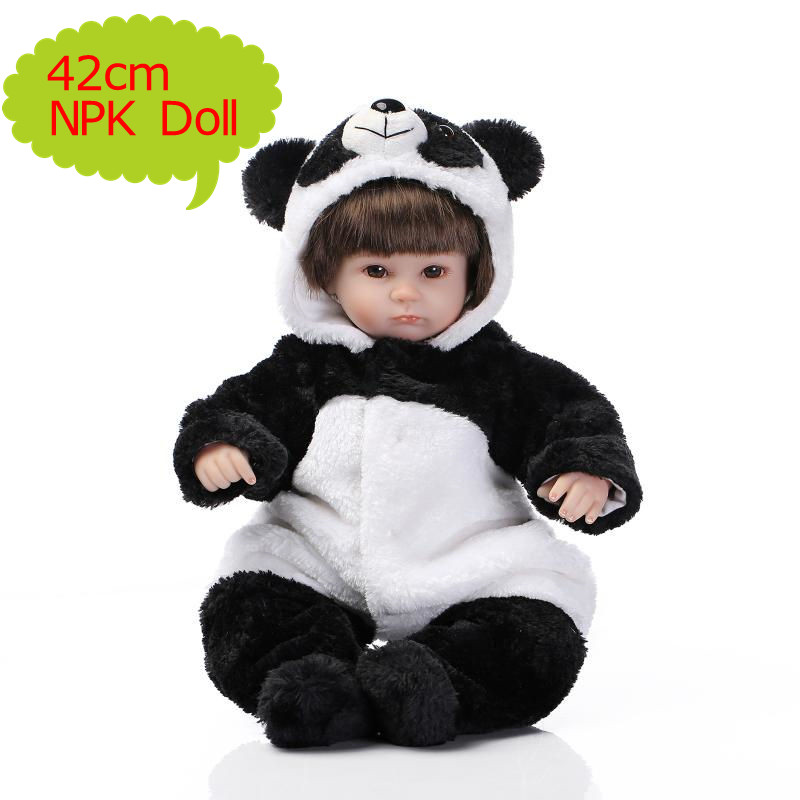 NPK 42cm Reborn Bebe Soft Silicone Doll Alive Simulation Doll In Lovely Panda Clothes Juguetes Baby