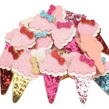 35pcs Boutique 3*5cm ice cream Sequin Bow Fashion Hair Accessories DIY Accessory Headwrap No Hair Barrette for hair snap clips(China)