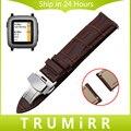 22mm Faixa de Relógio de Couro Genuíno Cinta de Liberação Rápida para Seixo tempo asus zenwatch 1 2 homens wi5001 wi501q fecho borboleta pulseira