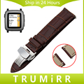 22mm Quick Release Watch Band Genuine Leather Strap for Pebble Time Asus ZenWatch 1 2 Men WI5001 WI501Q Butterfly Clasp Bracelet