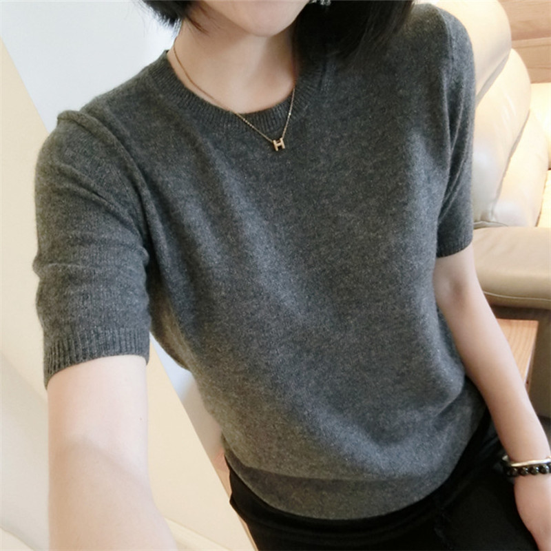 TAILOR SHEEP Spring Wool Sweater Women Knit Pullover Sweater Short-sleeved Solid Color O-neck Slim Pullover Female