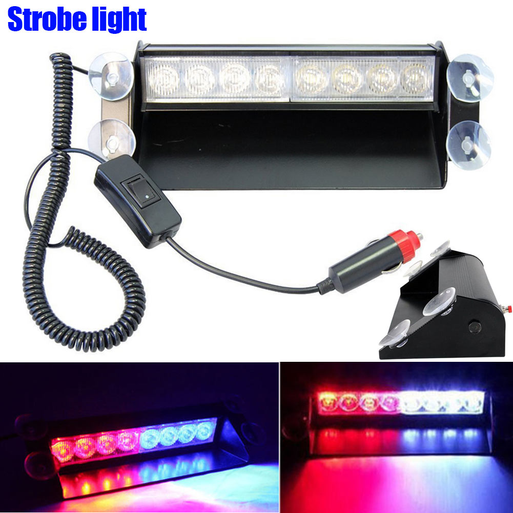 8LEDs Car Truck Police Strobe Flash Light Dash Emergency Security Warning 3 Flashing Mode Lights CSL2018