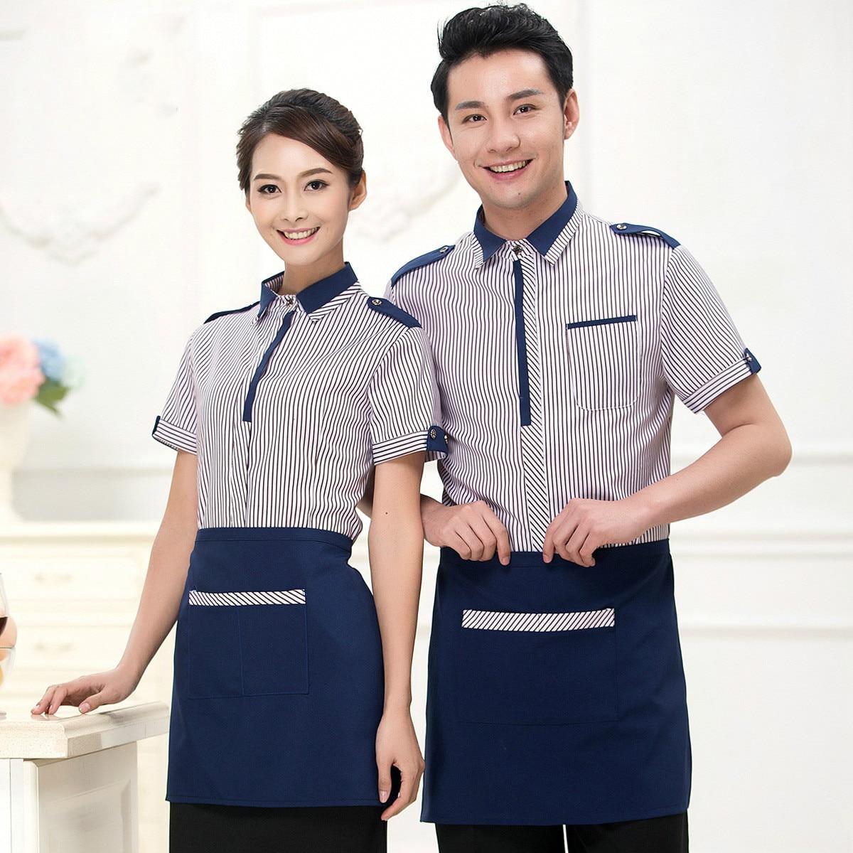 Summer Restaurant Food Service Waiter Uniform Men Cafe Chef Uniform Women Hotel Waitress Uniform Coffee Shop Staff Overalls
