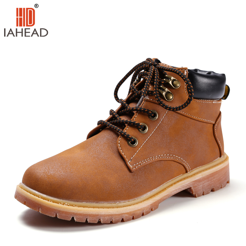 IAHEAD Brand 2017 New England Style Women Martin Boots autumn winter genuine leather unisex Ankle boots casual Shoes  UPC355 women led light shoes casual shoes led luminous boots unisex genuine leather ankle boots women usb charging martin boots 35 46