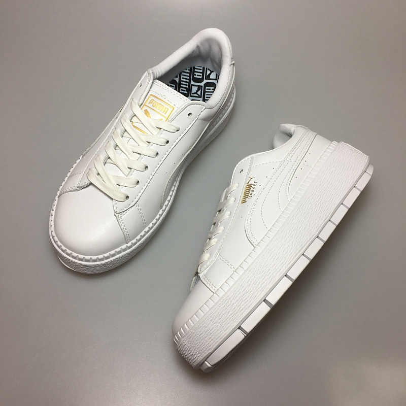 28eda134ac9 PUMA FENTY Suede Cleated Creeper Women s First Generation Rihanna Classic  Basket Suede Tone Simple Badminton Shoes