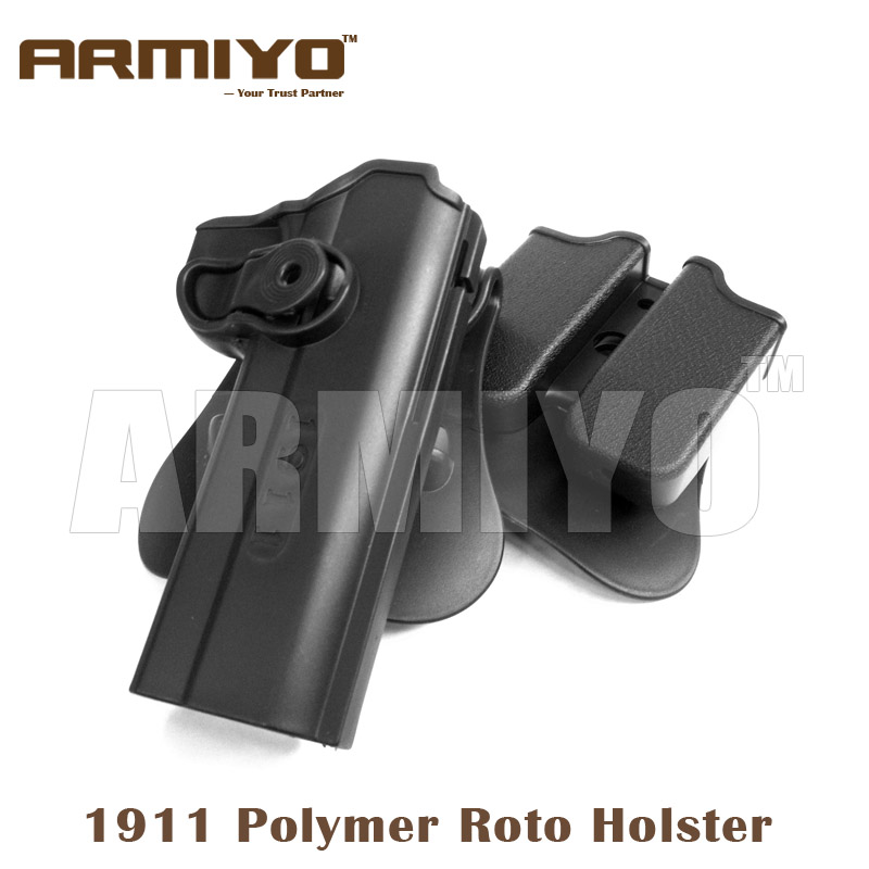Armiyo Tactical Roto Durable Polymer Hunting Bags Holsters Fits 1911 Come With Detachable Double Magazine Pouch Rail image