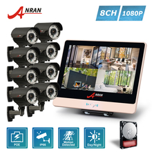 ANRAN Plug Play 4CH 1080P 12 Inch LCD Monitor POE NVR Home Security System 78 IR 2.8-12MM lens Outdoor CCTV Camera HDD Optional