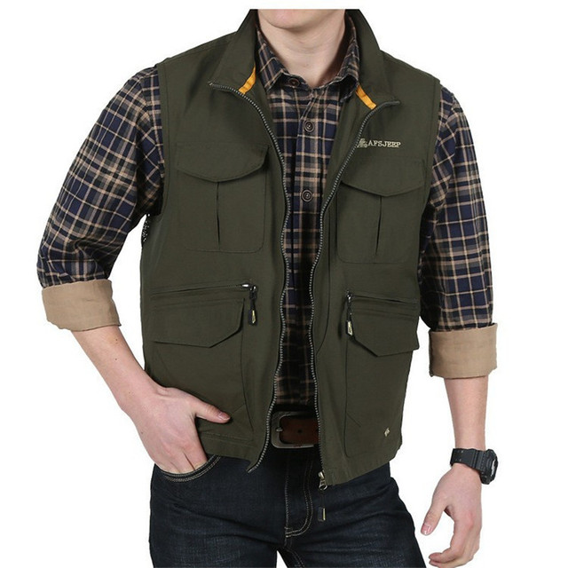 138c5fbc7285c Autumn Men Casual Vests Cotton chaleco Outwear Mens Waistcoat Military Army  Green Khaki Plus Size M -XXXL A0764