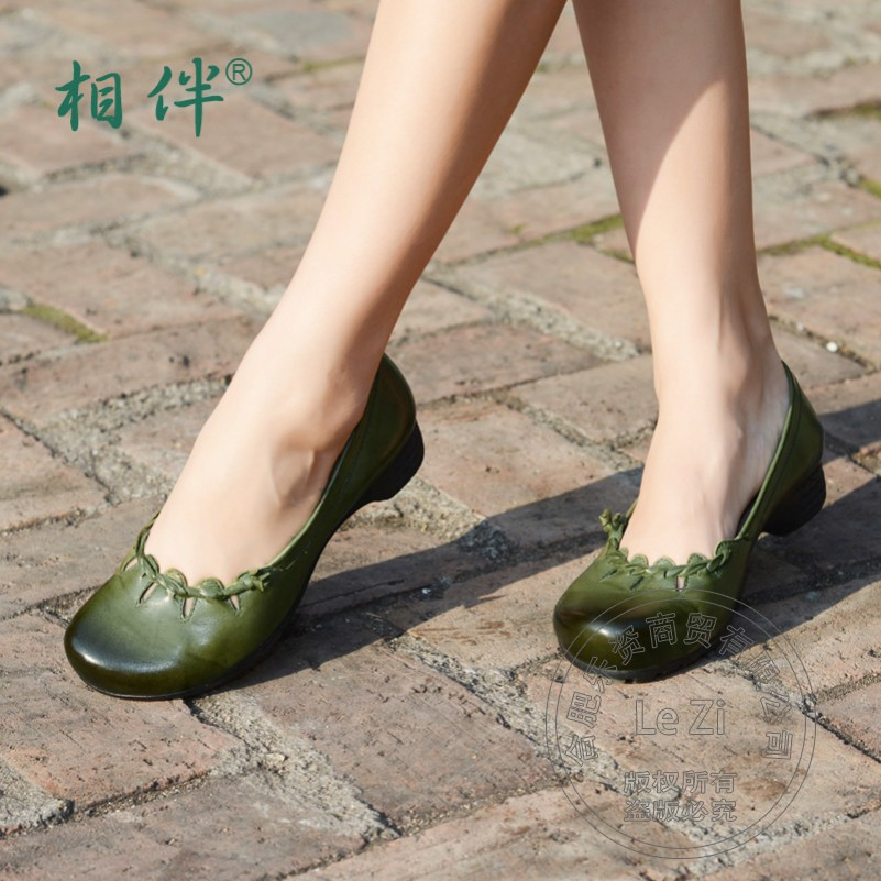 Chinese National Ethnic Puppy Heel Real Genuine Leather Shoes Women Womens Shoes Elegant Soft Leather Plain Pure Color