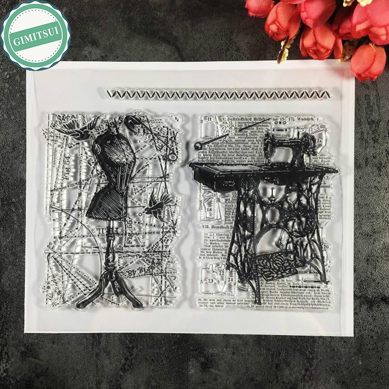 Clear Silicone Stamps Set Tailoring Backgrounds Sewing Machine Flourish Scrapbooking DIY Diary Paper Card Photo Album Decor Tool bathmate основание для помпы для гидропомпы hydromax x30