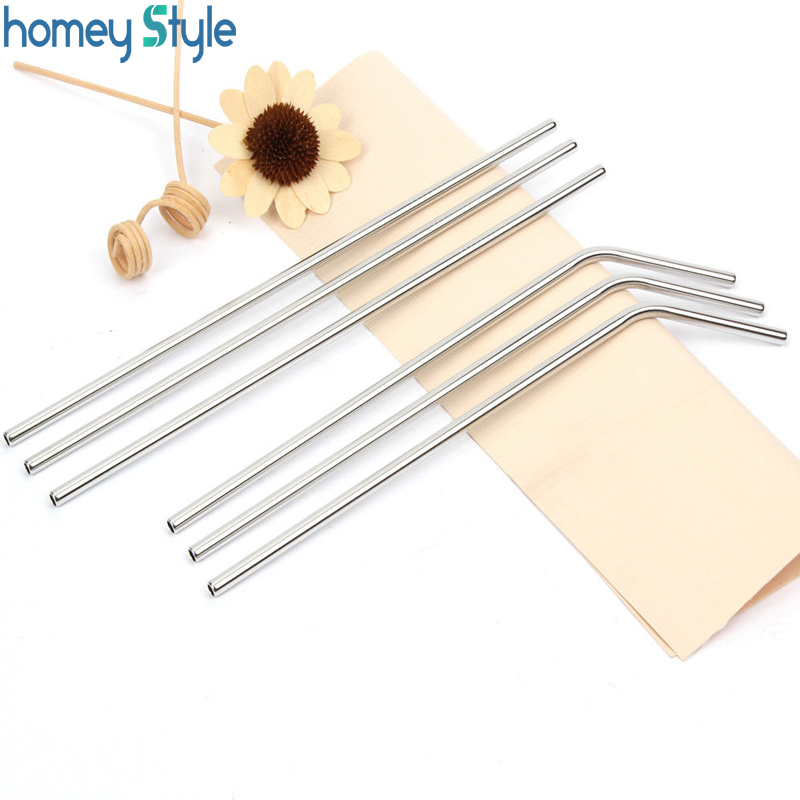 500Pcs batch Metal Straw Reusable Stainless Steel Drinking Tubes E co Friendly 6MM 215MM Portable Bar