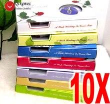 Qingmos 10 cajas de colgante de corazón y Perla para mujer, conjunto de regalo, gargantillas, collar, colgante, amor, ostra