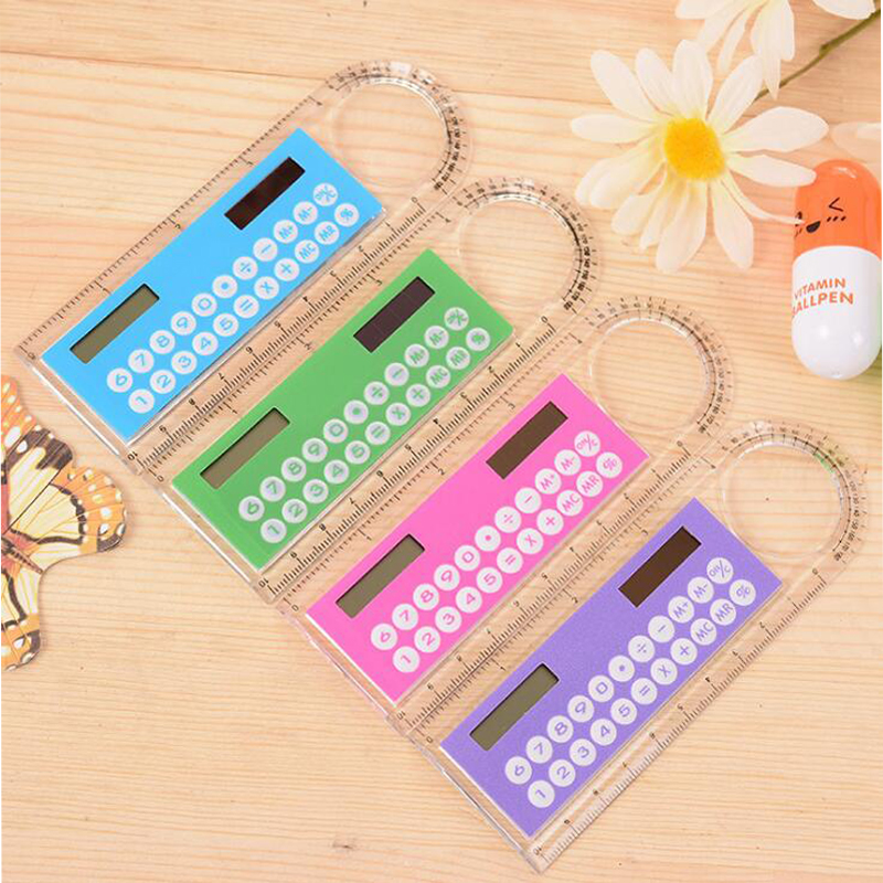 Ruler Calculator Solar Energy 10 Cm Student Portable Multi-function Mini Math Tool Planner School Supplie Ecience And Technology