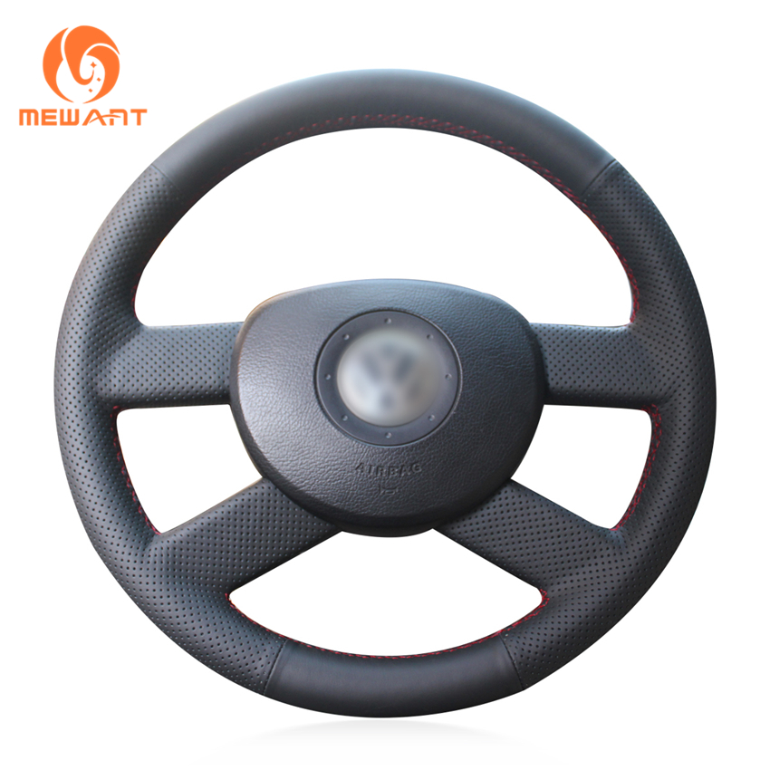 MEWANT Black Artificial Leather Car Steering Wheel Cover for Volkswagen VW Polo 2003-2006 car wind 38 cm genuine leather car steering wheel cover black steering wheel cover for bmw vw gol polo hyundai car accessories