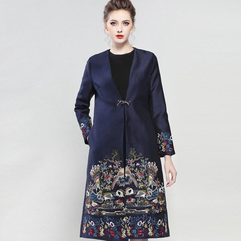 Luxe Bouton Automne Nouvelle Survêtement Xxl Long Femmes Unique De coréen Broderie Plus La Manteau Taille Phonix 2017 Vêtements Hiver Tranchée vq6rgnv1
