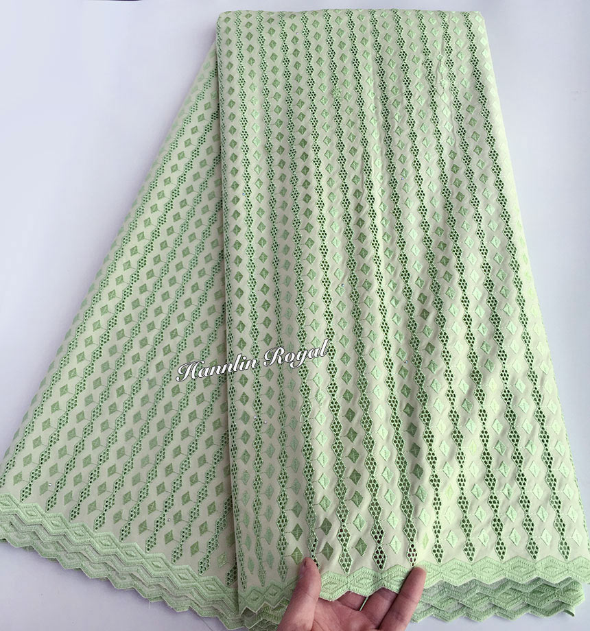 purely baby green couple lace very soft cotton 100 African Swiss voile lace fabric 5 yards