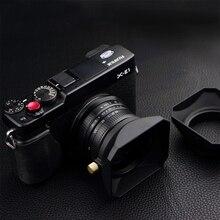 37 39 40.5 43 46 49 52 55 58 mm kare şekli Lens Hood Fuji Nikon mikro tek kamera hediye bir kapatma başlığı