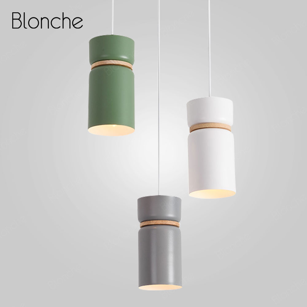 Nordic Kitchen Pendant Lights E27 Iron Hanging Light Fixture Modern Wood Hanging Lamp for Home Deco Led Bedroom Dining Room Lamp