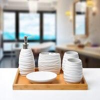 6 шт./Европейский стиль аксессуары для ванной комнаты креативные изысканные модные керамические аксессуары для ванной комнаты бамбуковый л