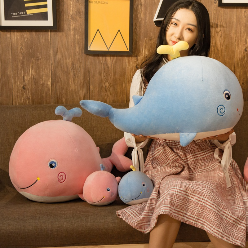 Plush <font><b>Whale</b></font> Soft Toy Stuffed Soft <font><b>Plushie</b></font> Sea Animals <font><b>Whale</b></font> Doll with Water Huggable Kids Ocean Plush Toy Blue/Pink 30/45/65cm image