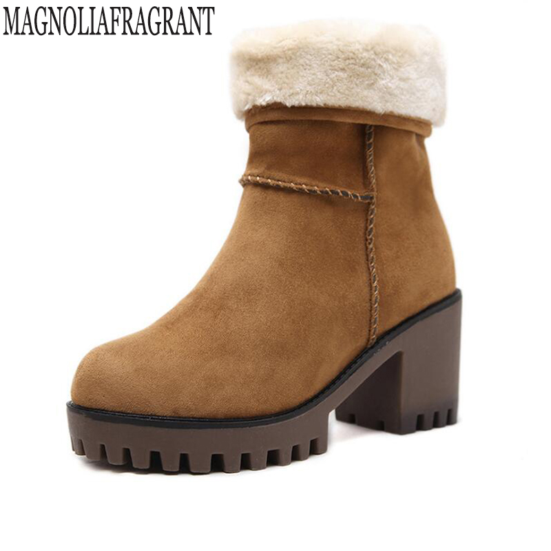 high heels Suede women winter boots thick wool warm women Martin boots, high-quality female snow boots Warm cotton shoes k602 2018 new fashion suede lamb wool women coats double breasted warm solid thick long overcoat casual winter cotton jackets female