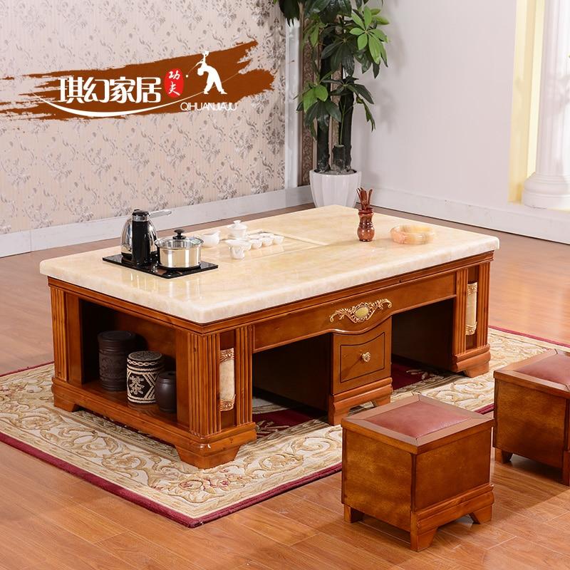 Living Room Table With Stools: European Style Living Room Coffee Table Marble Wood Tea