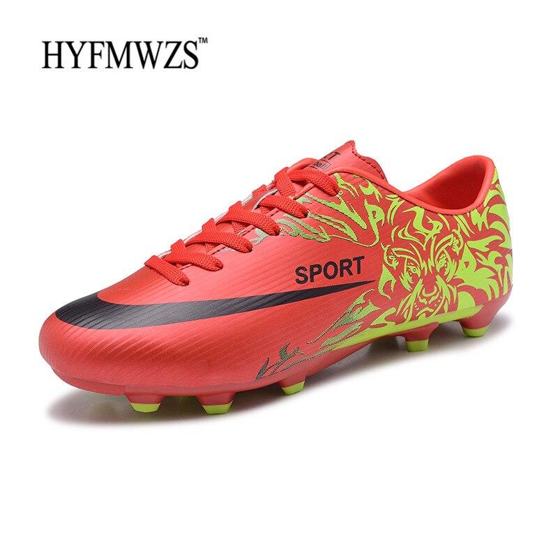 bea14214d9 HYFMWZS 2018 Men Soccer Shoes High Quality Cheap Boys Soccer Shoes  Breathable Long Spikes Kids Football Boots Chuteira Futebol