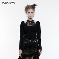 2018 Punk Rave Classic Basic Personality Steampunk Long Sleeve T Shirt Casual Women Top Cotton Clothing