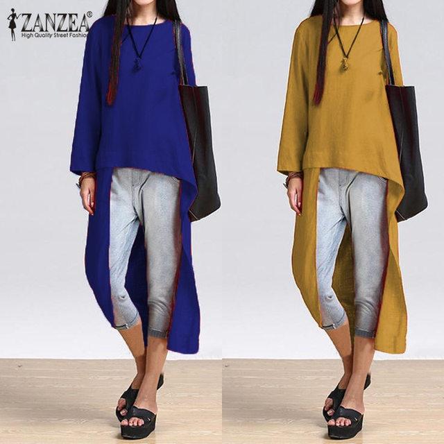 6bf8743c292a4 ZANZEA Blusa 2018 Spring Women Blouse Tops Vintage Cotton Asymmetrical Long  Sleeve Casual Long Shirts Femininas